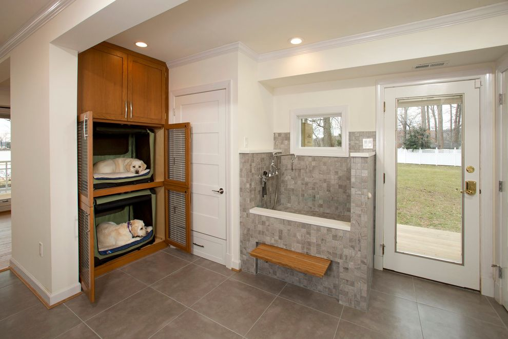 Water Bowl for Dog Crate   Transitional Laundry Room Also Built in Cabinets Dog Beds Dog Shower Folding Bench Glass Door Gray Floor Tile Recessed Lighting Screen Doors Soffit