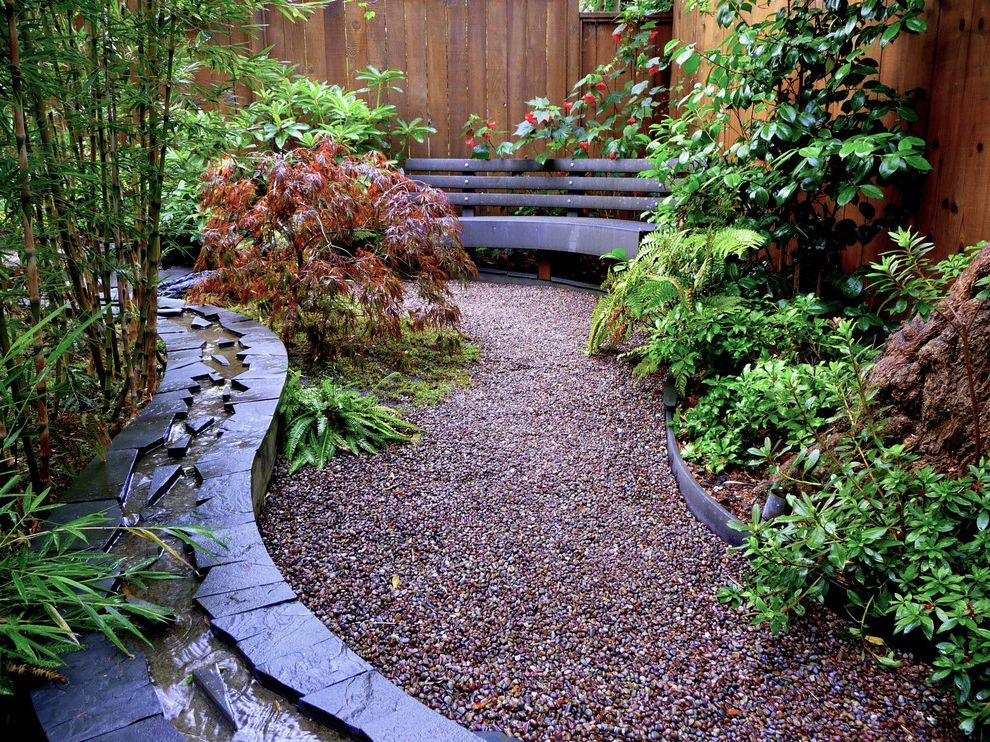 Water Gardens Theater   Asian Landscape  and Bamboo Curved Bench Foliage Gravel Path Japanese Maple Permeable Paving Rill Shade Garden Trex Water Feature Wood Fence Woodland Garden