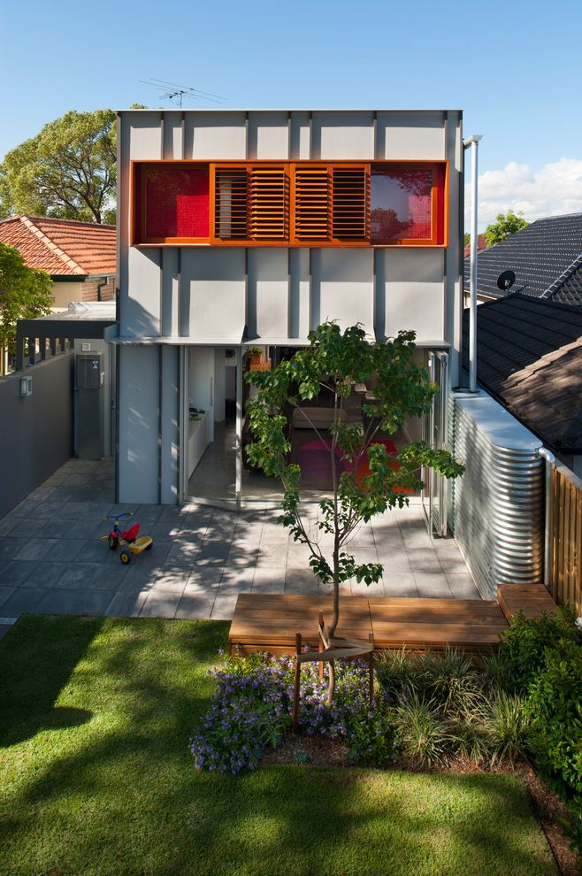 Water Holding Tank for House with Contemporary Exterior  and Extension Flat Roof Modern Orange Screen Privacy Wall Refurbishment Renovation Workers Cottage