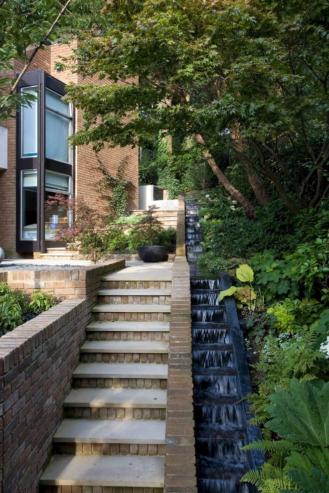 Water Holding Tank for House with Contemporary Landscape Also Brick Stairs Brick Wall Modernist House Water Feature Waterfall