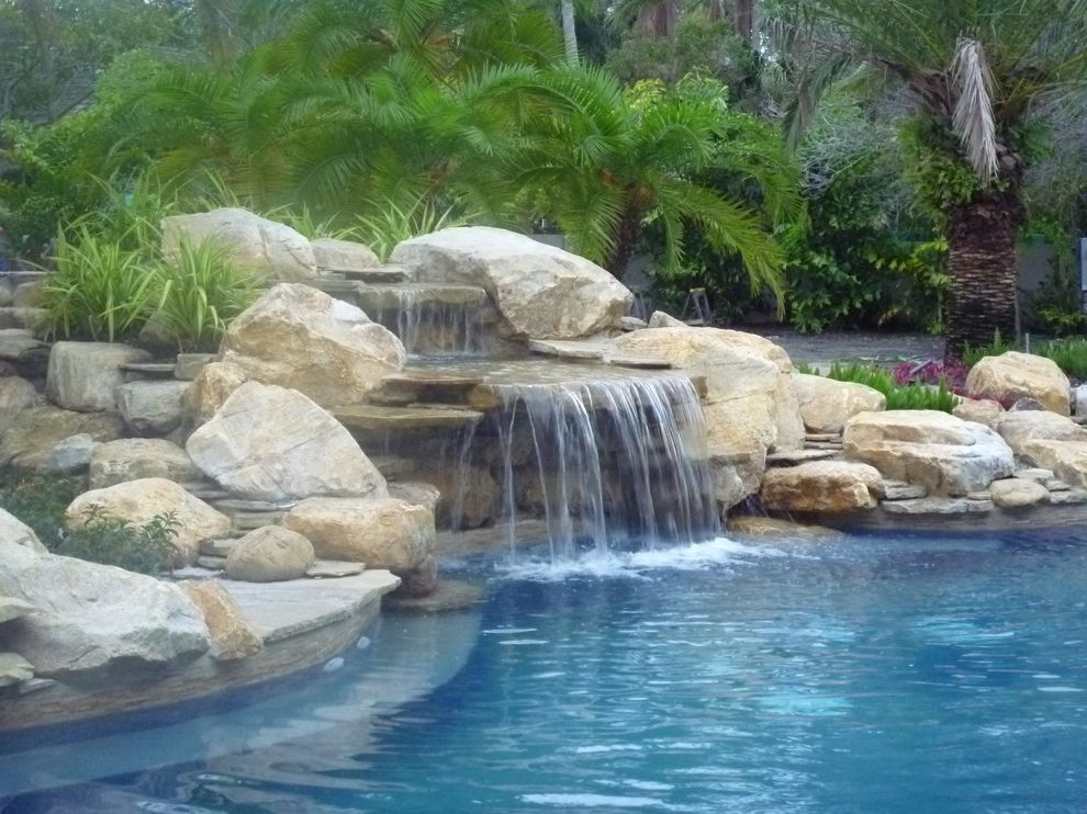 Waterfalls in Florida with Traditional Pool Also Backyard Waterfall Floirda Miami Pond Pool Pool Waterfall Rock Waterfall Water Garden Waterfall Waterfalls