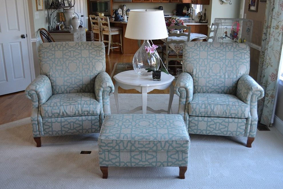 Waugh and Allen    Living Room  and Avery Chairs Ethan Allen Fabian End Table Pair Chairs Trellis Fabric