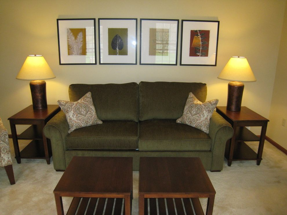 Waugh and Allen   Rustic Family Room Also Cheshire Sofa Copper Lamps Cozy Ethan Allen Fall Colors Family Room Green Sofa Sidekick Bunching Coffee Tables Small Coffe Table Small Wood Coffee Tables