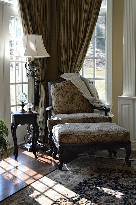 Waugh and Allen   Traditional Living Room  and Ethan Allen Floor Lamp French Black Accent Tble Harris Chair Leather and Fabric Mix