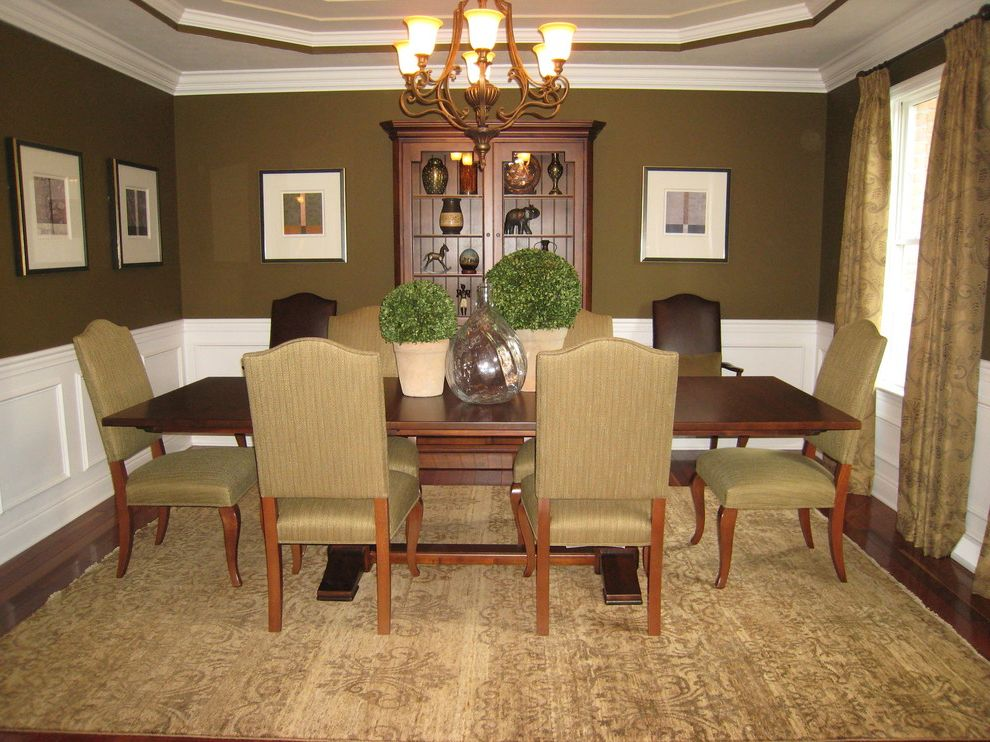 Waugh and Allen with Traditional Dining Room  and Cameron Table Cozy Dining Room Eclectic Ethan Allen Green Walls Hadley Chairs Modern Damask Rug Upholstered Dining Chair