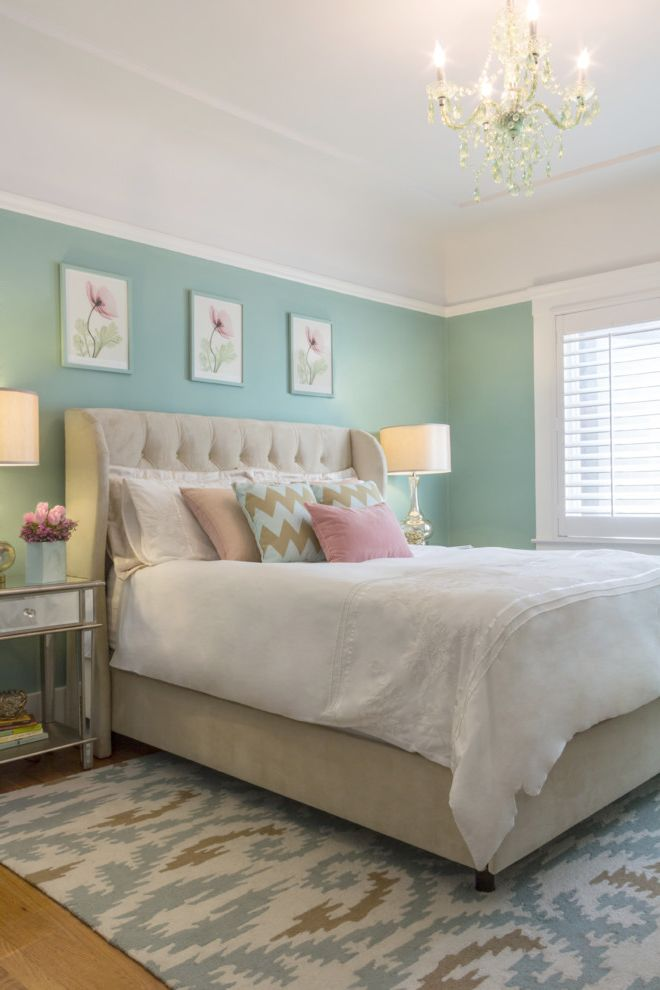Wayfair Joss and Main with Traditional Bedroom  and Pastel Colors Picture Rail Small Chandelier Tufted Headboard Upholstered Headboard
