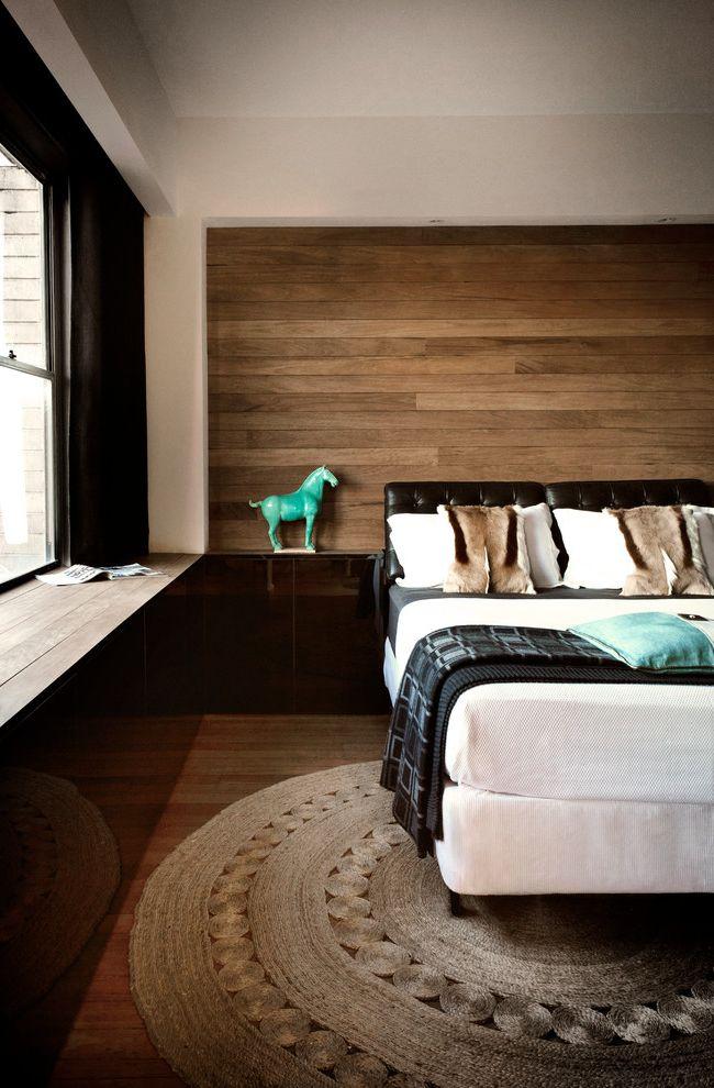 Wayfair Return Policy   Contemporary Bedroom  and Area Rug Black Trim Throw Pillows Window Seat Window Trim Wood Floors Wood Panel Walls