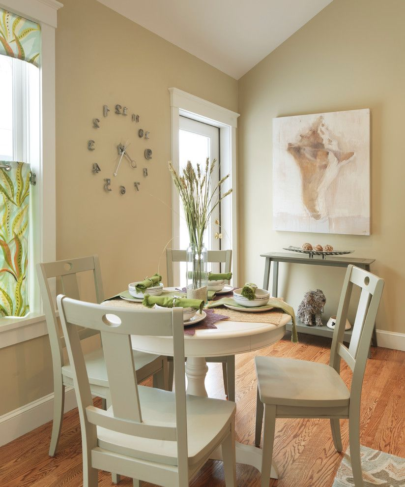 Wayfair Return Policy   Contemporary Dining Room  and Beige Dining Chair Beige Dining Table Beige Molding Beige Trim Beige Wall Console Table Glass Door Seashell Artwork Small Dining Table Table Setting Valance Wall Clock Wood Floor