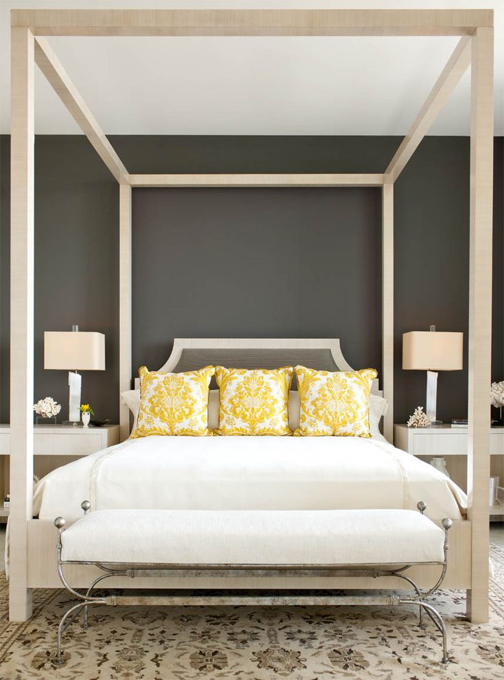 Wayfair Return Policy with Contemporary Bedroom Also Accent Color Bed Bench Canopy Bed Color Cream Gray Paint Pillows Rug Yellow