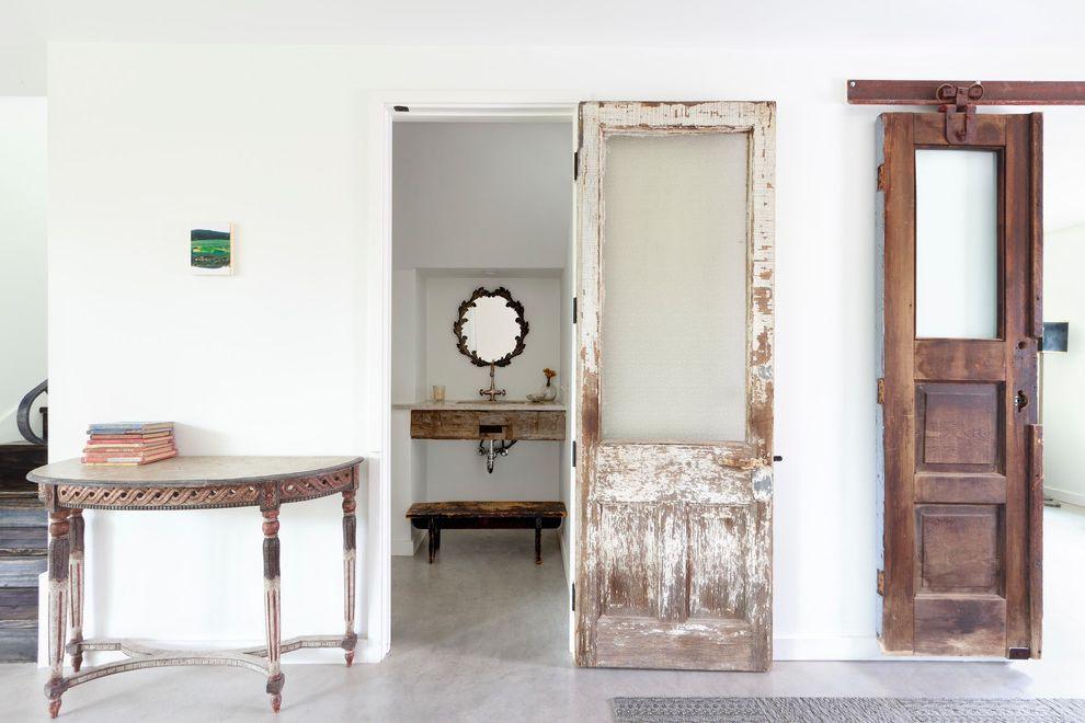 Wayfair Return Policy with Contemporary Entry Also Antique Barn Door Antique Doors Concrete Floor Half Bathroom Powder Bath Reclaimed Door Reclaimed Wood Recycled Material