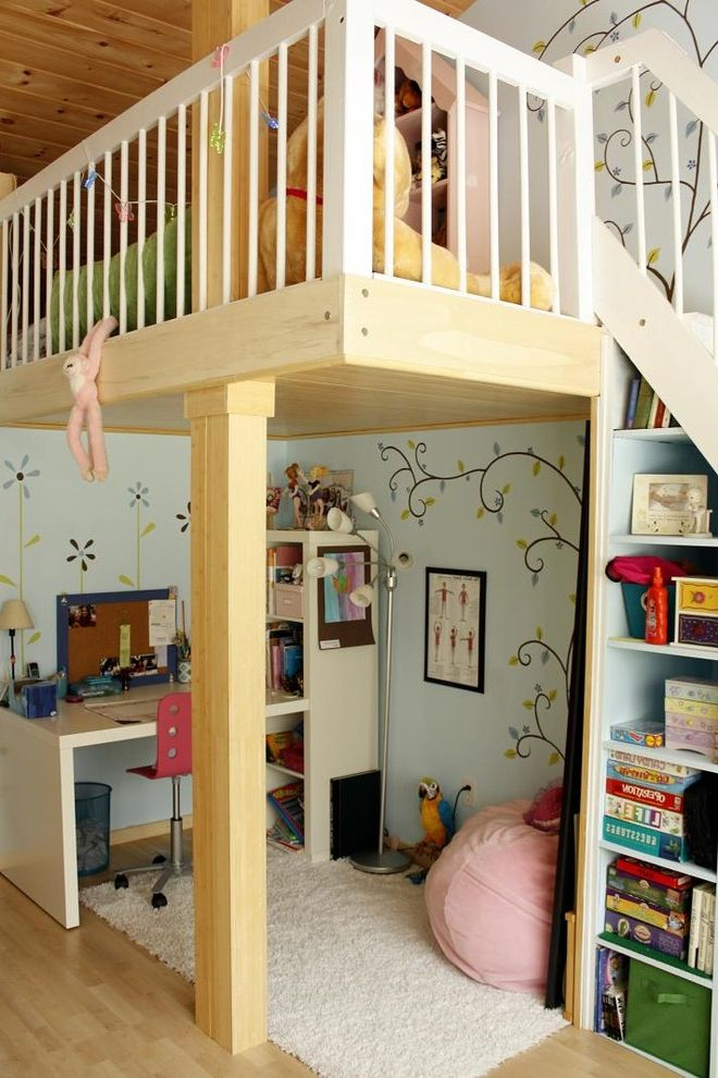 Wayfair Return Policy with Contemporary Kids Also Bedroom Blue Walls Bookcase Built in Shelves Built Ins Girls Room Kids Desk Loft Loft Bed Playroom Wall Mural