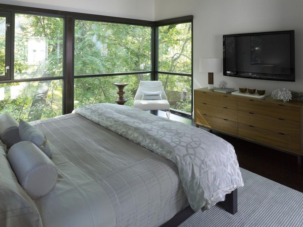Weathered Oak Dresser   Modern Bedroom Also Atlanta Bedroom Black Floor Cablik Coral Floor to Ceiling Windows Gray Bedding Grey Bedding Modern Home Table Lamp Wall Mounted Tv Walnut Stool White Chair White Walls Wood Dresser