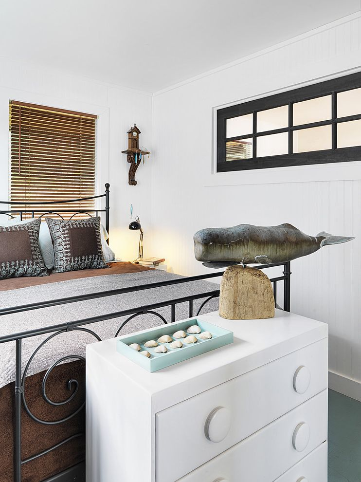 Weathervanes for Sale with Beach Style Bedroom Also Bead Board Blinds Brown Dark Trimmed Window Dresser Metal Bed Night Stand Shell Collection Table Lamp Whale White Painted Wood
