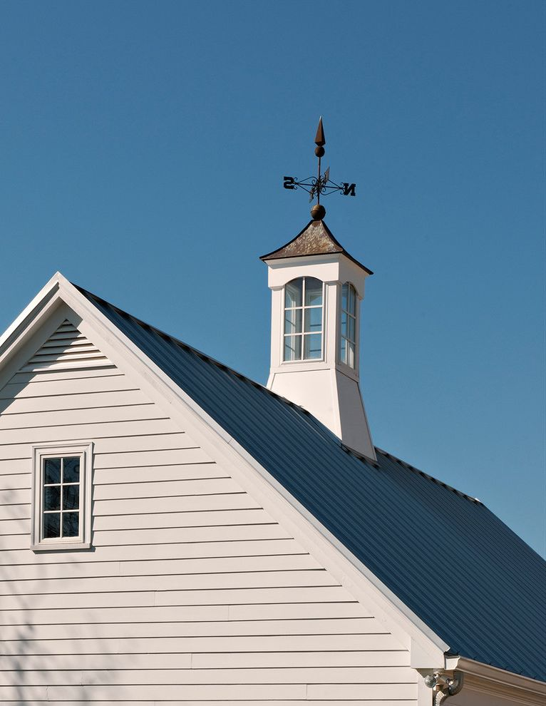 Weathervanes of Maine   Farmhouse Exterior Also Brick Porch Chimney Circular Driveway Classic Design Columns Cupola Farm House Front Yard Gable Roof Gravel Lake Lawn Metal Roof Sailboat Separate Garage Walkway Water View Weather Vane Wood Ceiling