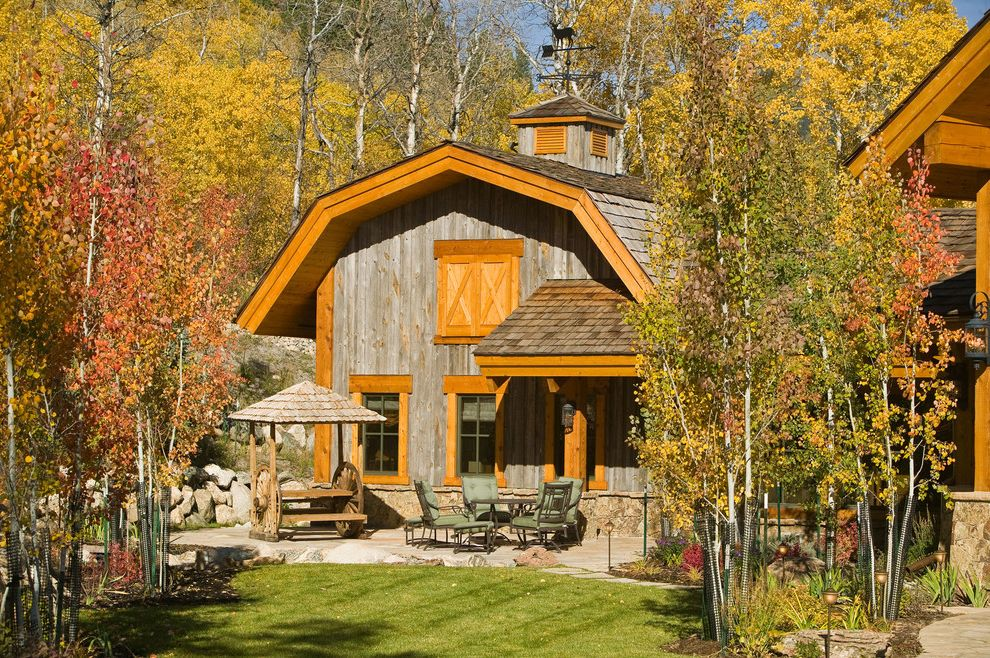 Weathervanes of Maine   Farmhouse Exterior  and Aspen Barn Birch Boulders Cupola Flagstone Gambrel Roof Lawn Lintel Patio Rock Wall Shingles Stonework Weathered Wood Weathervane Young Trees