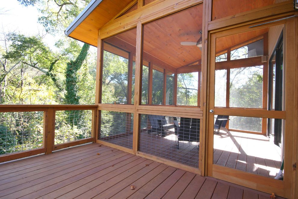 Weld Wire Fence with Contemporary Deck Also Adirondack Chairs Ceiling Fan Pine Ceiling Screened Porch Wire Railing Wood Ceiling Wood Deck Wood Railing Woodsy