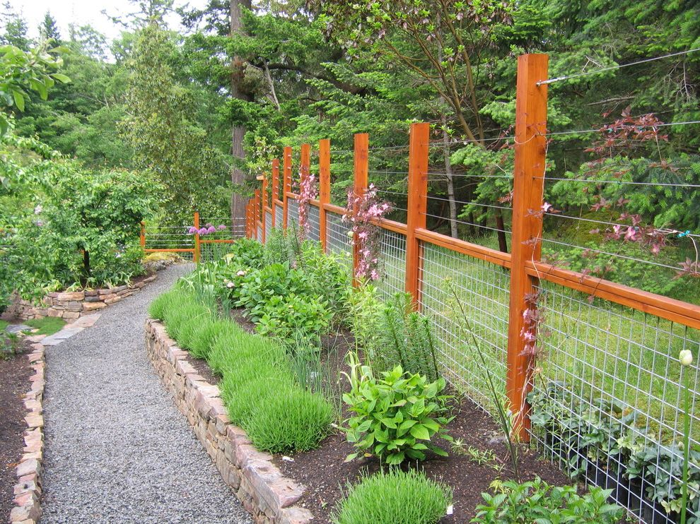 Weld Wire Fence with Traditional Landscape Also Bushes Garden Gravel Pathway Gravel Walkway Pink Flowers Purple Flowers Shrubs Stone Planter Wire Fence Wood Fence