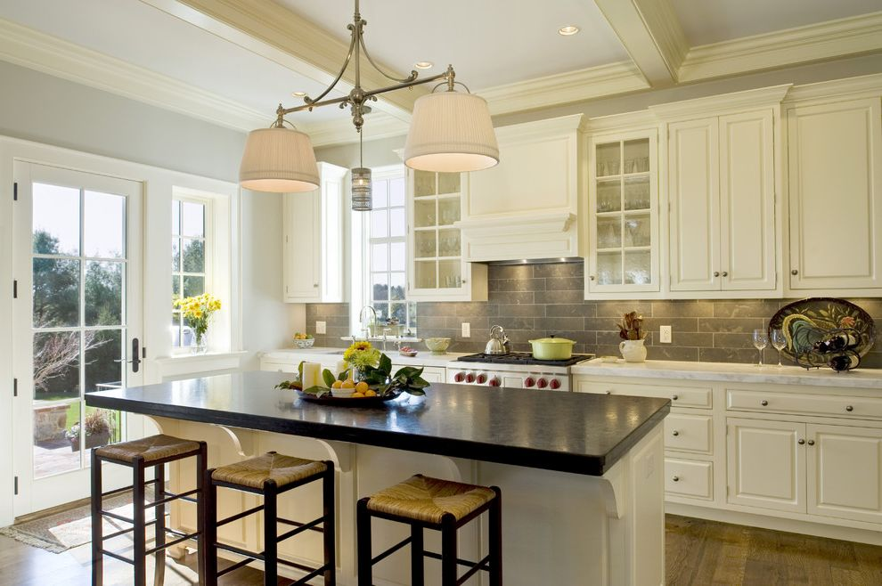 Wes Peoples Homes with Traditional Kitchen  and Barstools Braces Chandelier Coffered Ceiling Granite Gray Hood Island Pendant Recessed Lights Stainless Subway Tile White Painted Wood