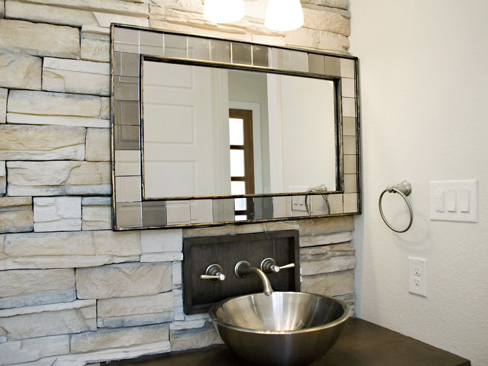 West Elm Customer Service   Contemporary Bathroom  and Bathroom Mirror Stacked Stone Wall Stainless Steel Vessel Sink Wall Mounted Faucet Wall Sconce