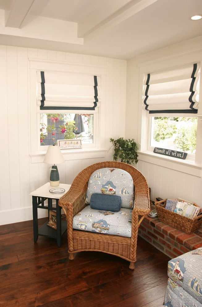 What Are Roman Shades   Beach Style Family Room  and Bead Board Beams Blue Stripe Bouy Brick Coffered Ceiling Cushion Lamp Basket Lighthouse Magazine Nautical Navy Paneling Roman Shades White Wicker Wood Floor