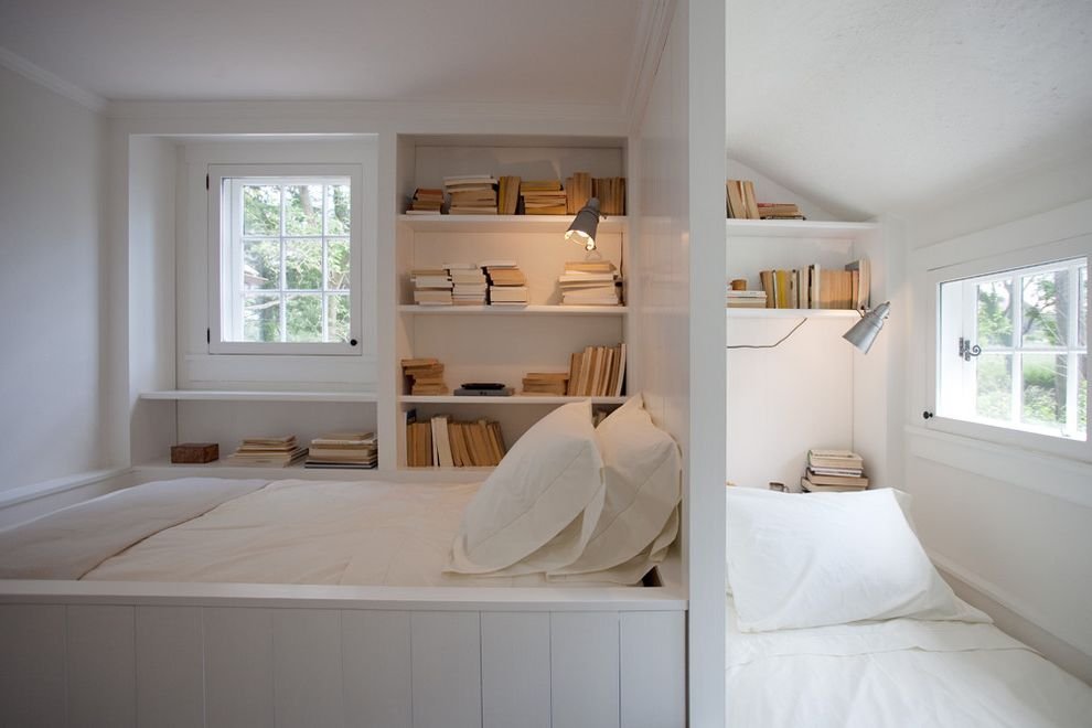 What Are the Dimensions of a Queen Size Mattress with Farmhouse Kids  and Bookcase Bookshelves Built in Beds Built in Shelves Casement Windows Reading Lamp Reading Nook Shared Bedroom Twin Beds White Bedding