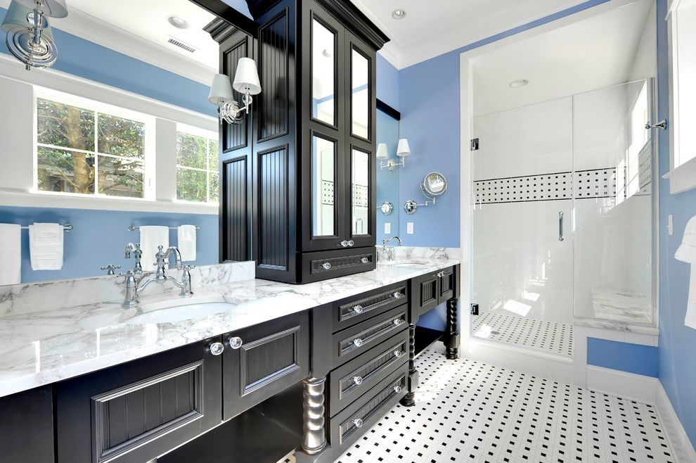 What Colors Go with Gray   Beach Style Bathroom  and Black and Blue Double Vanity Glass Front Cabinets Sconces Two Sinks White Trim