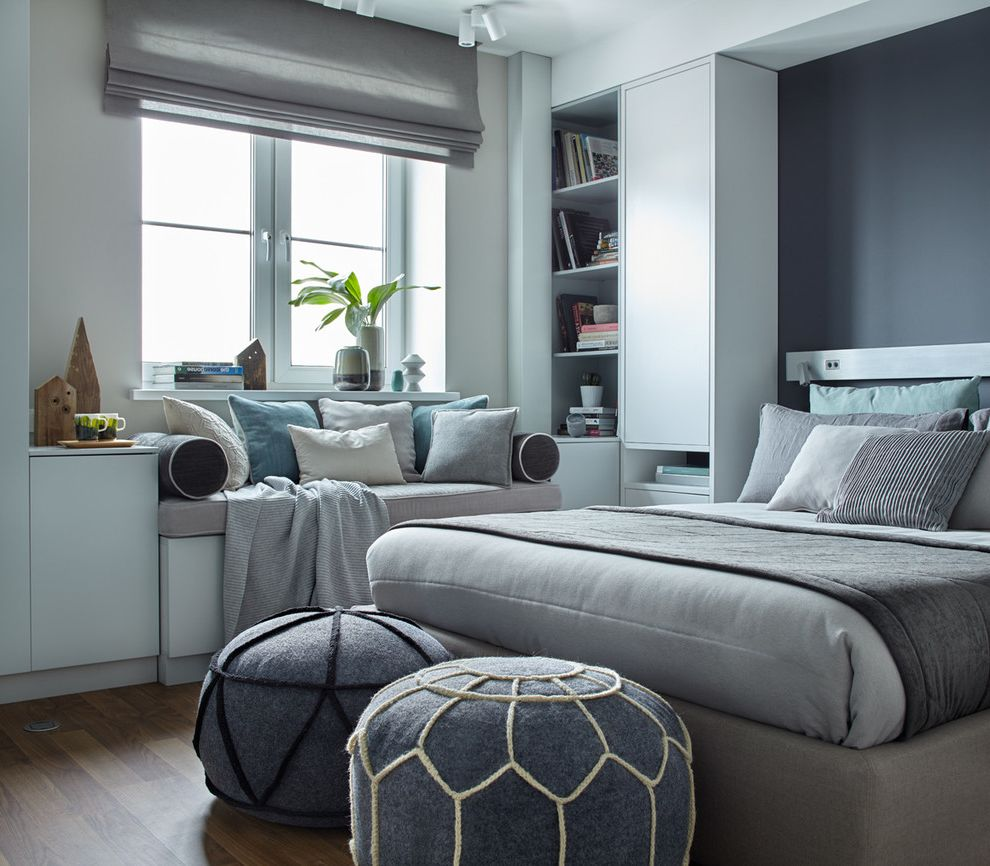 What Colors Go with Gray   Scandinavian Bedroom Also Built in Bookcase Gray Bedroom Grey Roman Shades Window Bench