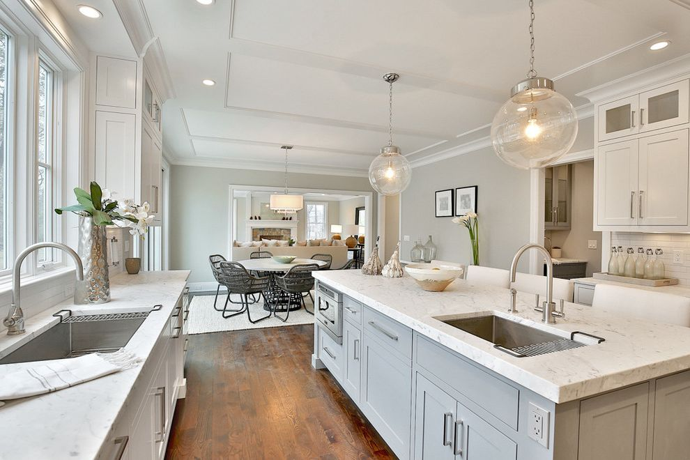 What Colors Go with Gray   Transitional Kitchen  and Bluish Gray Cabinets Bright Kitchen Glass Pendant Light Kitchen Dining Light Gray Light Gray Cabinet Two Sinks