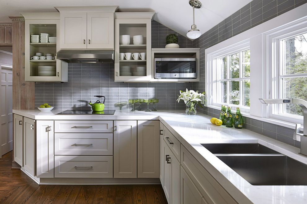 What Colors Go with Gray with Transitional Kitchen Also Gray Kitchen Gray White Kitchen Grey Kitchen Kitchen Windows Mini Pendant Painted Gray Cabinets Sloped Ceilings