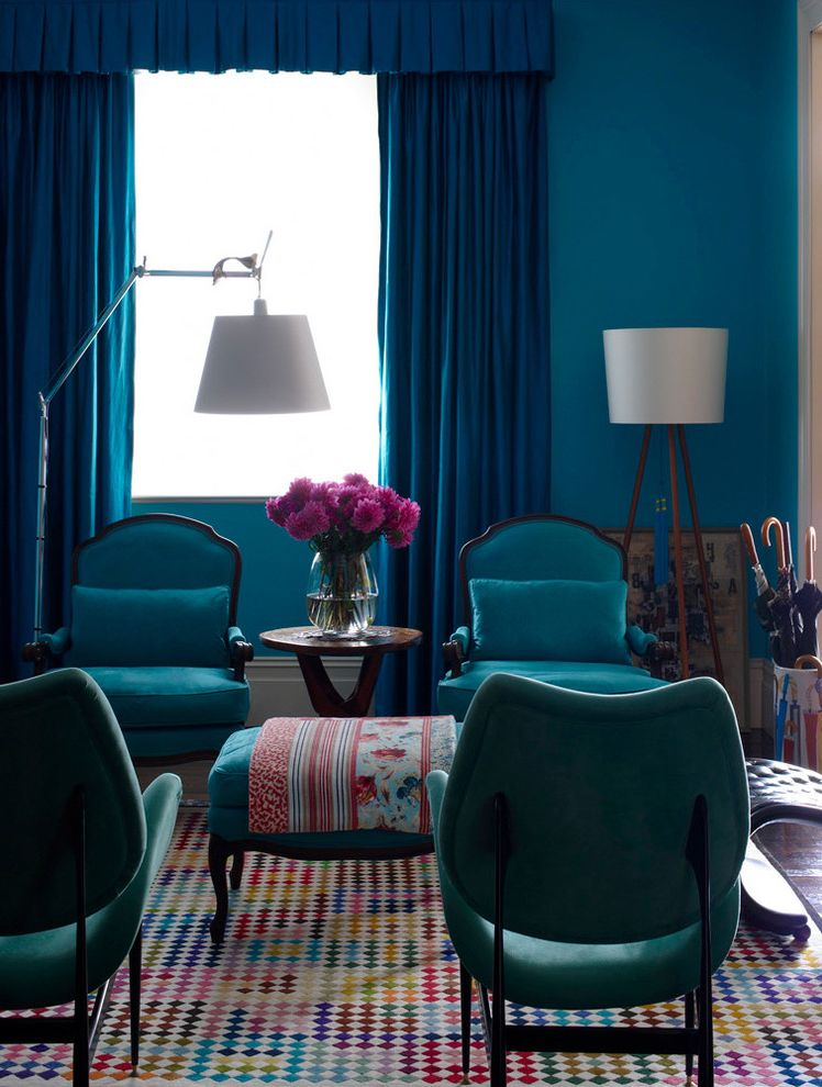 What Colors Make Blue   Eclectic Living Room Also Area Rug Blue Walls Colorful Curtain Panels Floor Lamp Formal Living Room Mosaic Area Rug Ottoman Saturated Color Seating Area Tripod Lamp Umbrella Stand
