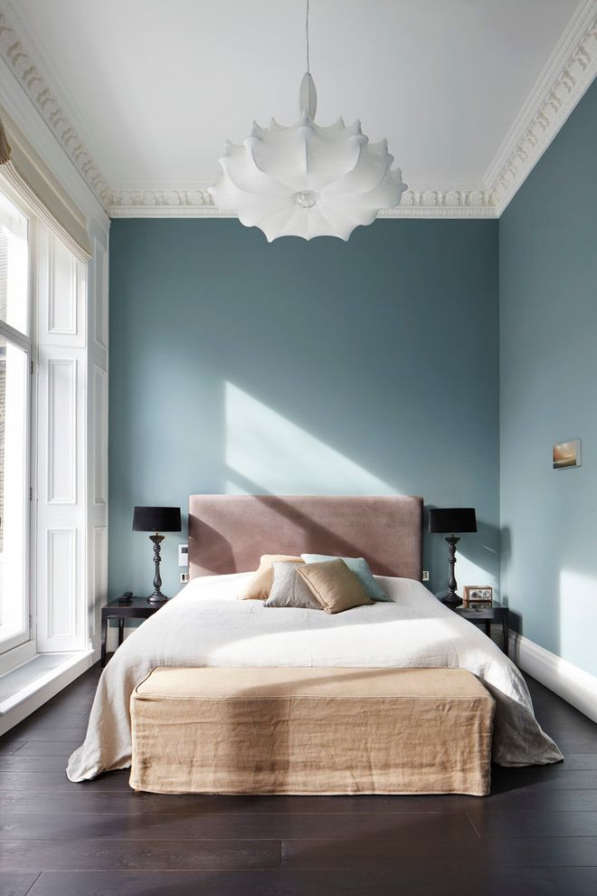 What Colors Make Blue   Transitional Bedroom Also Black Lamp Shades Blue Bedroom British Homes Awards Winner Crown Molding Master Bedroom