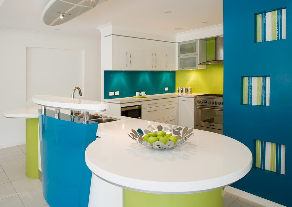 What Colors Make Blue with Contemporary Kitchen Also Colorful Kitchen Kitchen Island Lime Green Range Hood Tile Floors Turquoise Undercabinet Lighting
