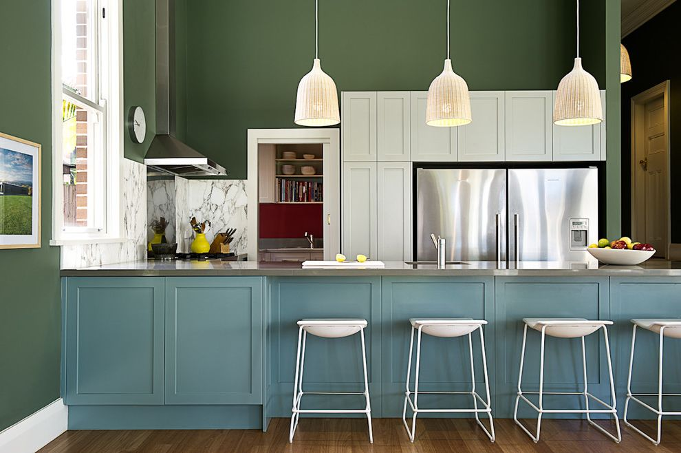 What Colors Make Blue with Transitional Kitchen Also Blue Cabinets Colour Dark Green Walls Green and Blue Large Peninsula Modern Federation Pendant Lights Rustic White Bar Stools
