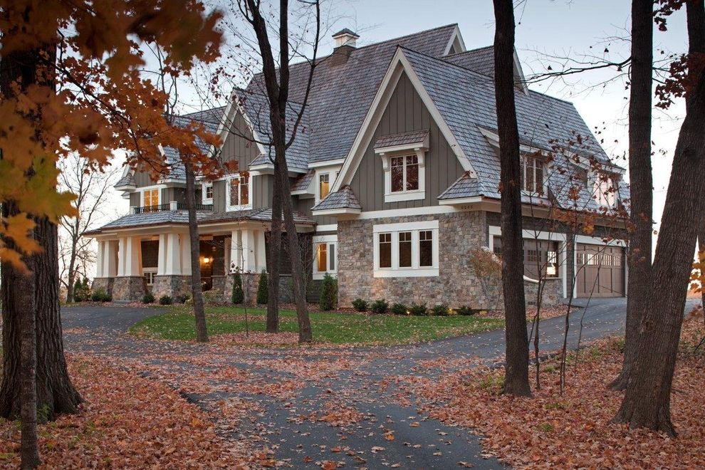 What Does Asbestos Siding Look Like with Craftsman Exterior and Autumn Board and Batten Cupola Dormer Windows Driveway Entrance Entry Fall Seasonal Stone Pillars Stone Wall White Wood Wood Columns Wood Siding Wood Trim