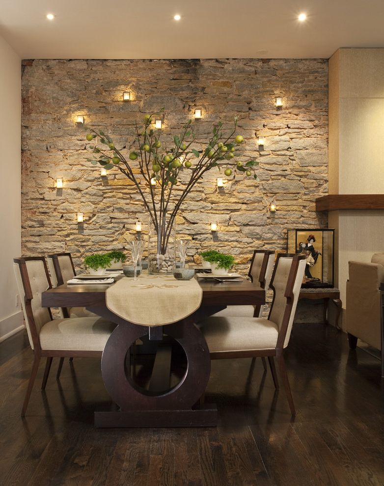 What Does Chagrin Mean   Contemporary Dining Room Also Accent Wall Branches Candles Cream Dining Set Hardwood Floors Ivory Neutrals Place Setting Rock Runner Stacked Stone Stone Wall Upholstered Dining Chairs