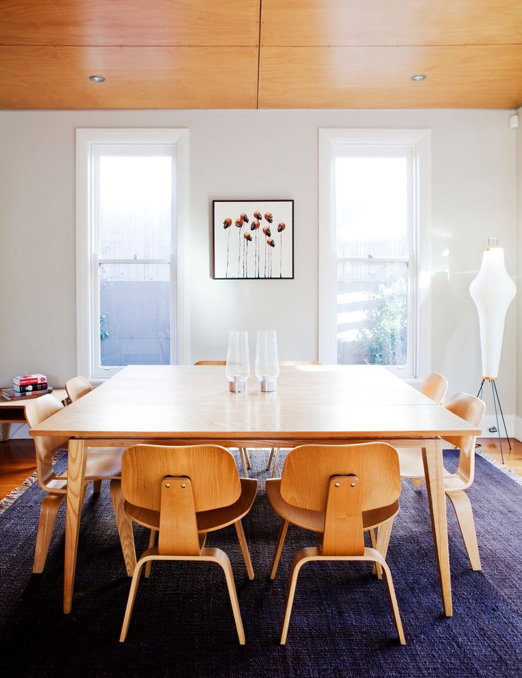 What Does Chagrin Mean with Midcentury Dining Room Also Bungalow Contemporary Furniture Eames Chair Mid Century Navy Blue Rug Noguchi Light Plywood Timber Ceiling Wood Ceiling