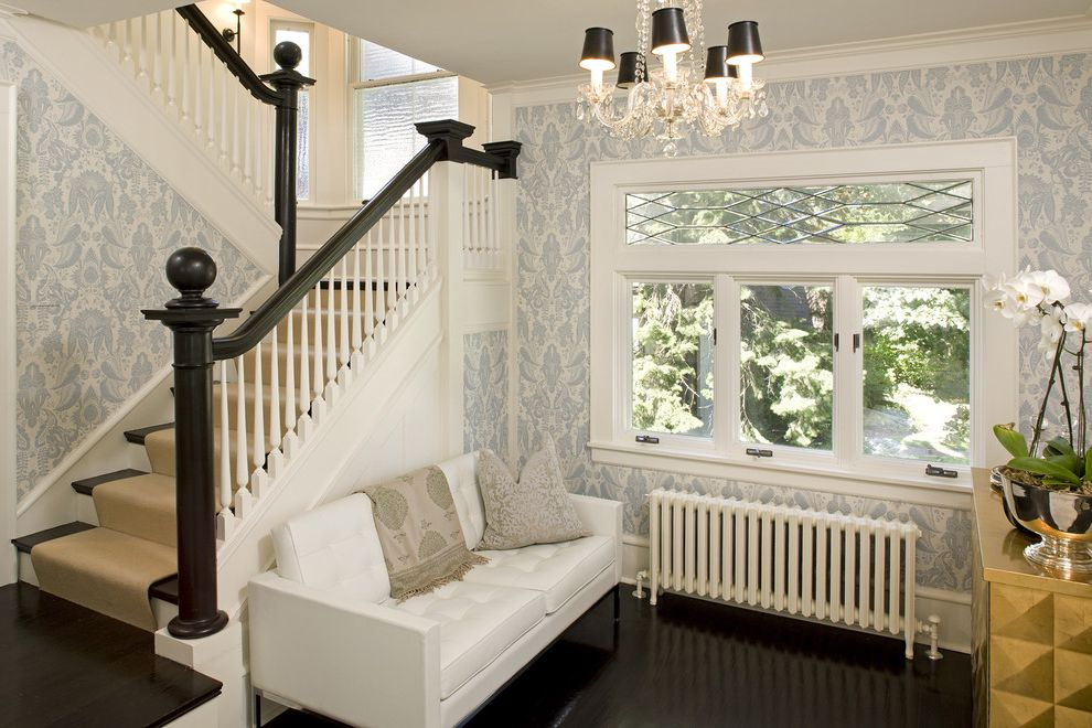 What is a Casement Window   Traditional Living Room  and Casement Windows Chandelier Chandelier Shades Dark Floor Leaded Windows Modern Icons Orchid Radiator Wallcoverings Wallpaper White Wood Wood Flooring Wood Molding Wooden Staircase