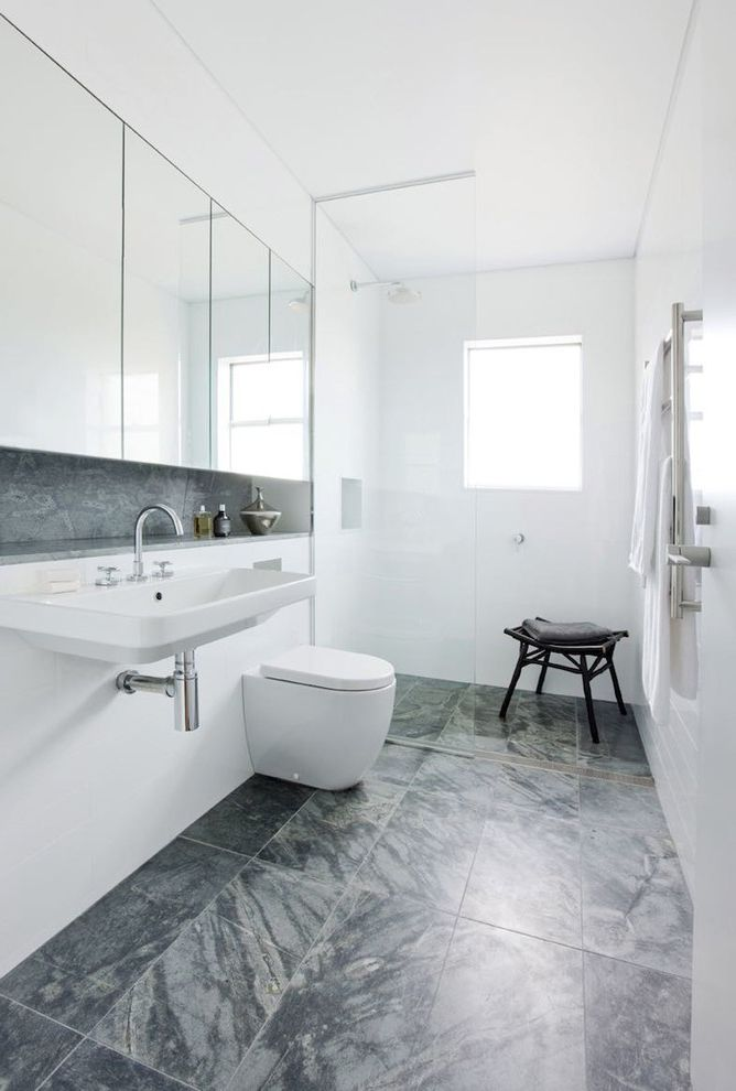 What is a Cistern   Contemporary Bathroom  and Bright Classic Gray Floor Tile Loft Luxury Mirrored Medicine Cabinet Mirrored Medicine Chest Open Shower Window in Shower Wood Stool