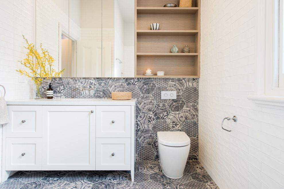 What is a Cistern   Transitional Bathroom  and Bathroom Bathroom Storage Caesar Stone Feature Tile Graphic Tiles Hex Tiles Subway Tiles Tiles Timber Timber Veneer