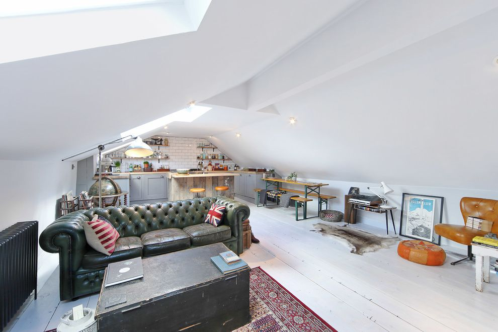 What is a Loft Apartment   Eclectic Living Room  and Animal Skin Attic Chesterfield Globe Green Leather Sofa Island Loft Apartment Loft Conversion Metro Tile Splash Back Painted Floorboards Painted Floors Skylight S White Painted Wood