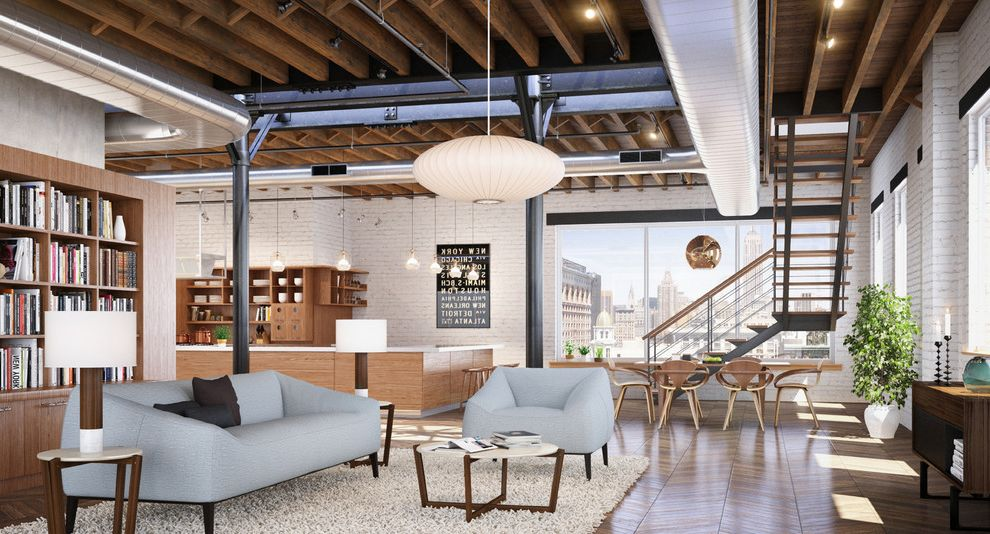 What is a Loft Apartment with Industrial Living Room  and Beams Bookshelf City View Exposed Duct Work Open Concept Painted Brick Wall Pendant Light Shag Rug Sofa Staircase