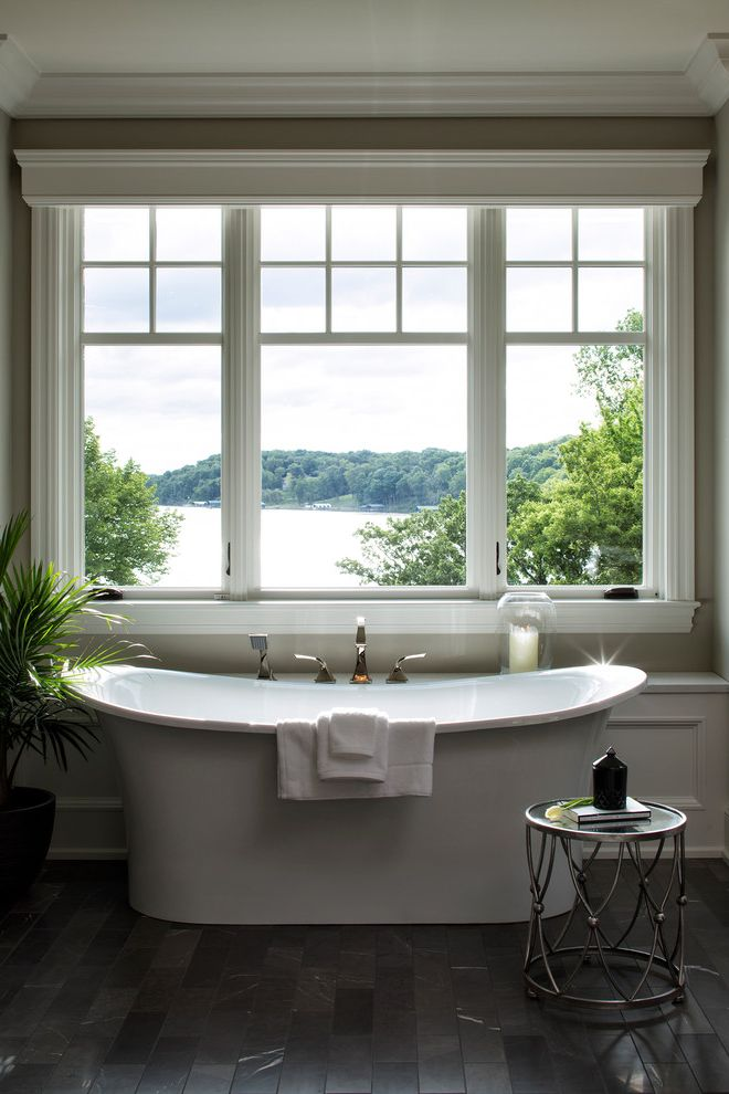 What is a Roman Tub   Transitional Bathroom Also Bathroom Side Table Lake View Molding Roman Tub Window Above Tub