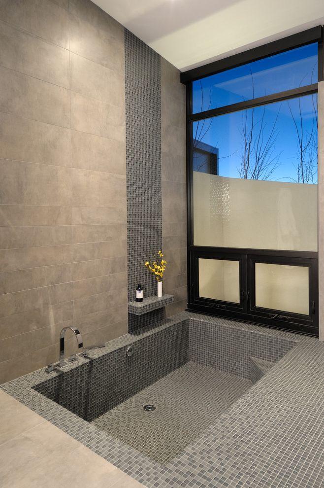 What is a Roman Tub with Contemporary Bathroom Also Bathtub Black Trim Shower Shelf Sunken Tub Tile Window Trim