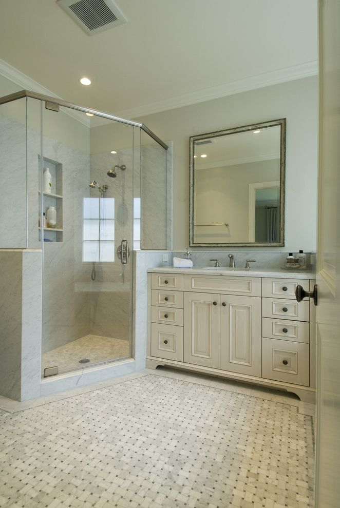 What is Cultured Marble with Traditional Bathroom  and Alcove Cabinet Country Crown Molding Floor Gray Marble Mirror Niche Shampoo Shower Shower Enclosure Single Sink Vanity White