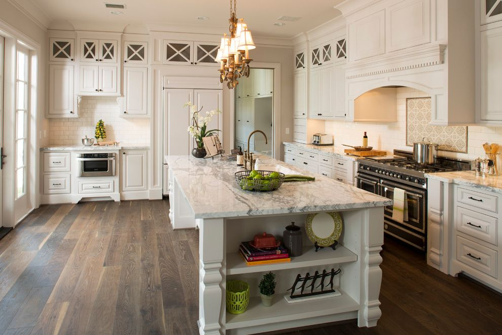 What is Engineered Hardwood   Traditional Kitchen  and Bertazonni Clerestory Cabinets French Oven Recessed Lighting Side Lights Tile Accent White Marble