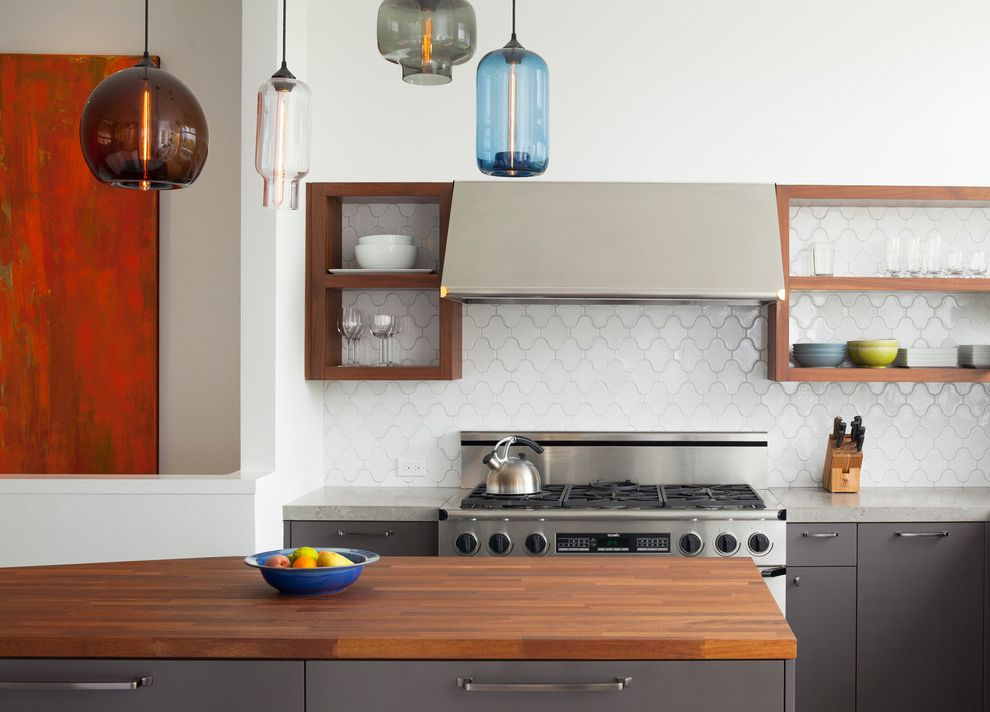 What is He Detergent   Contemporary Kitchen Also Butcher Block Countertops Debris Fireclay Tile Flat Panel Cabinets Gray Cabinets Hand Made Tile Island Lighting Kitchen Backsplash Kitchen Island Kitchen Shelves Paseo Pendant Lighting White Gloss