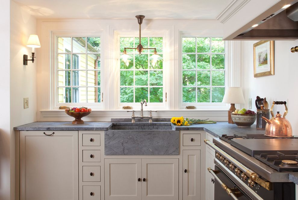 What is Soapstone with Traditional Kitchen Also Cottage French Windows Pendant Light Range Shaker Kitchen Sink Stone Sink White Cabinet
