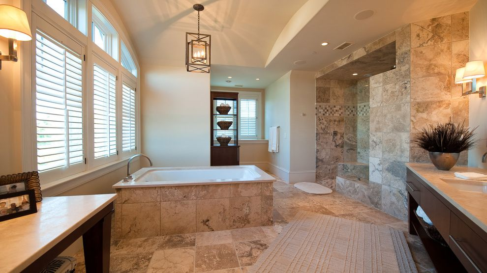 What is Travertine Tile   Traditional Bathroom  and Bathroom Storage Hanging Lantern Light Countertops Makeup Table Plantation Shutters Soaking Tub Tile Floor Tile Tub Tile Walls Tub Wall Sconces