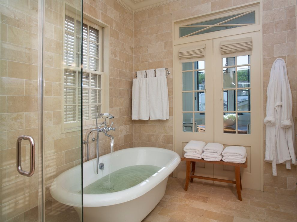 What is Travertine Tile with Traditional Bathroom  and Serene Spa Like Zen