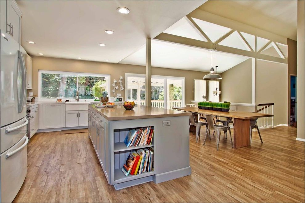 What is Vinyl Flooring   Contemporary Kitchen Also Farmhouse Sink Industrial Light Kitchen Island Pendant Light Vaulted Ceiling Wood Beams Wood Table